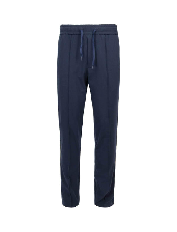 Cotton Jersey Striped Jogger Pants in Navy - CLOSET Singapore