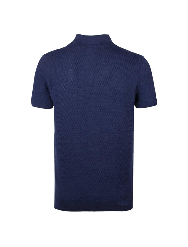 Cotton Textured Knit Polo Shirt in Navy - CLOSET Singapore