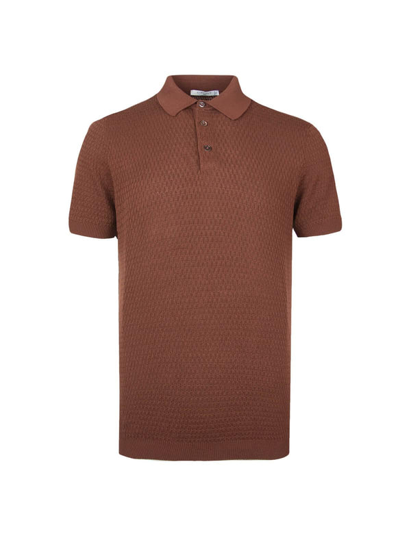 Cotton Textured Knit Polo Shirt in Terra - CLOSET Singapore