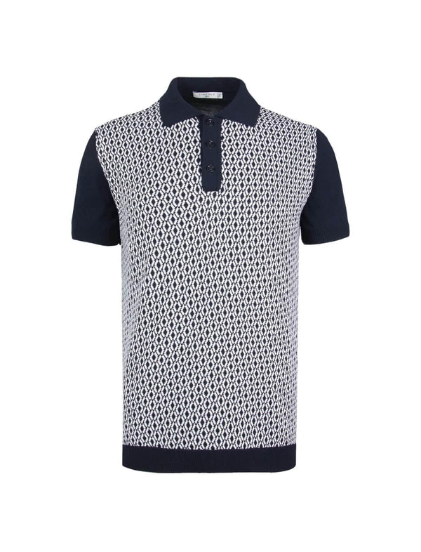 Cotton Jacquard Knit Polo Shirt in Navy - CLOSET Singapore