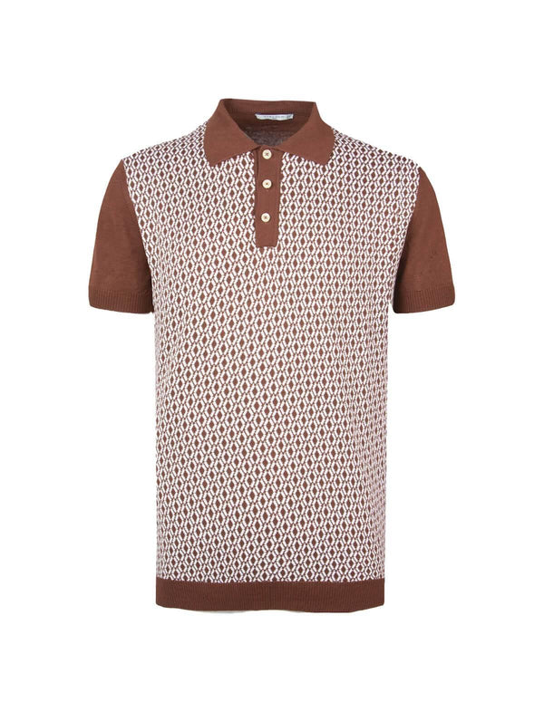 Cotton Jacquard Knit Polo Shirt in Terra