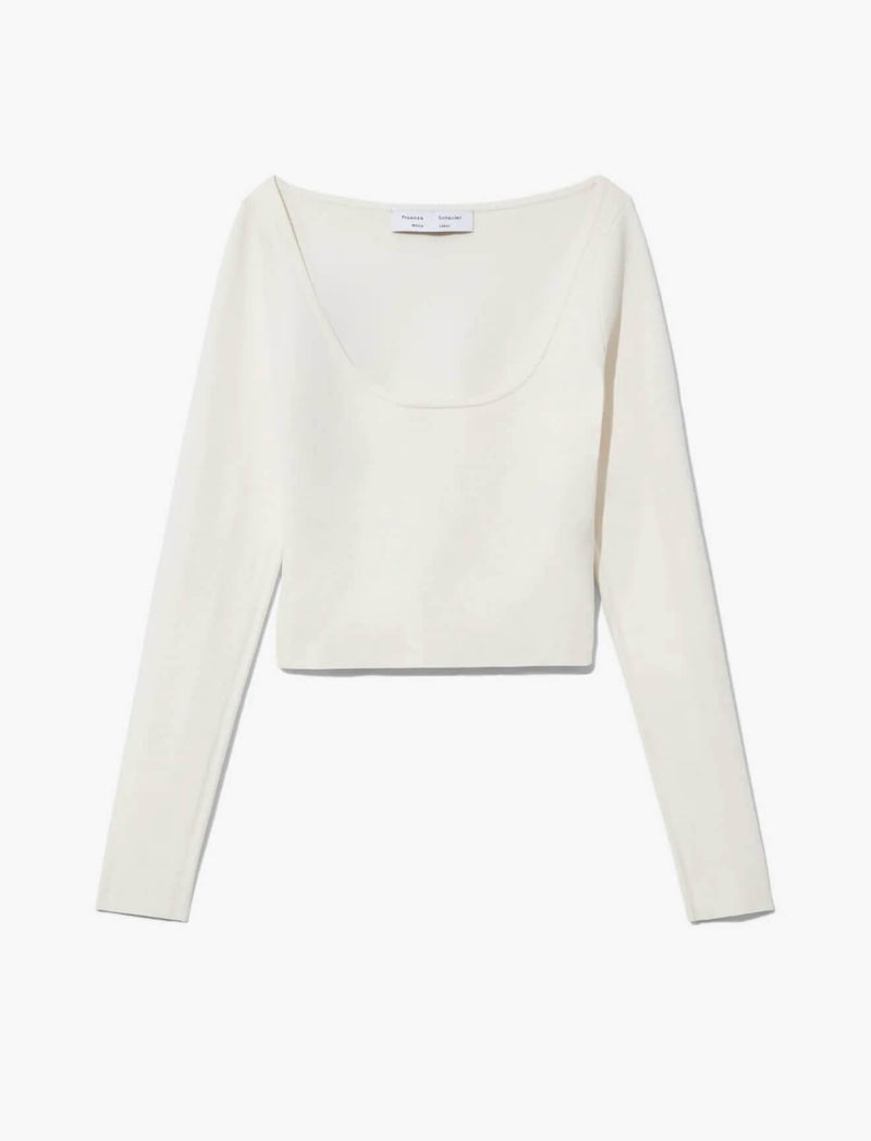Compact Knit Scoop Neck Top In Off White