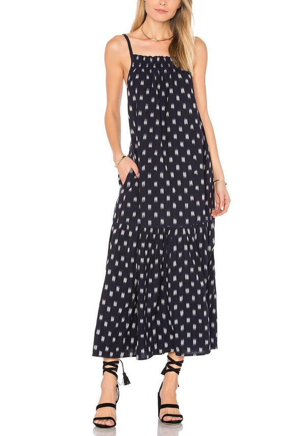 Holly Shirred Spaghetti Maxi Dress in Black Ikat