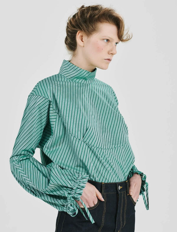 Organic Cotton Striped Shirting Blouse In Green