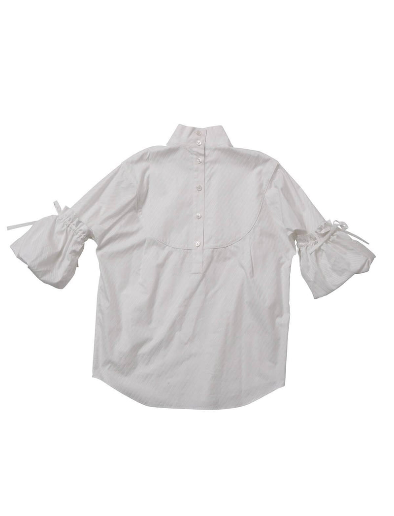 Organic Cotton Striped Shirting Blouse In White