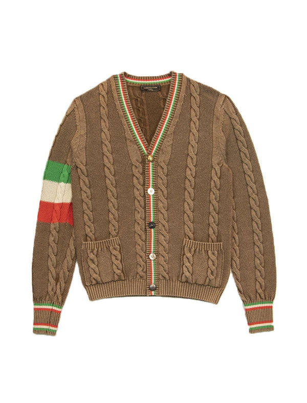 Knitted Wool-Blend Cardigan In Brown