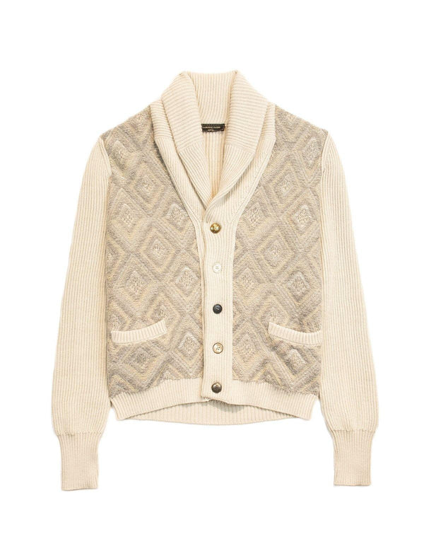 Shawl-Collared Wool Cardigan in Cream