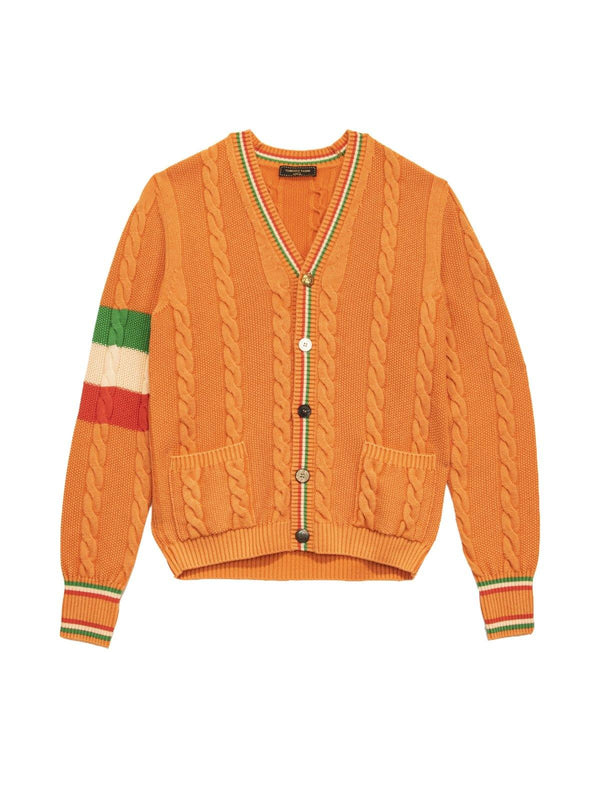 Knitted Wool-Blend Cardigan In Orange