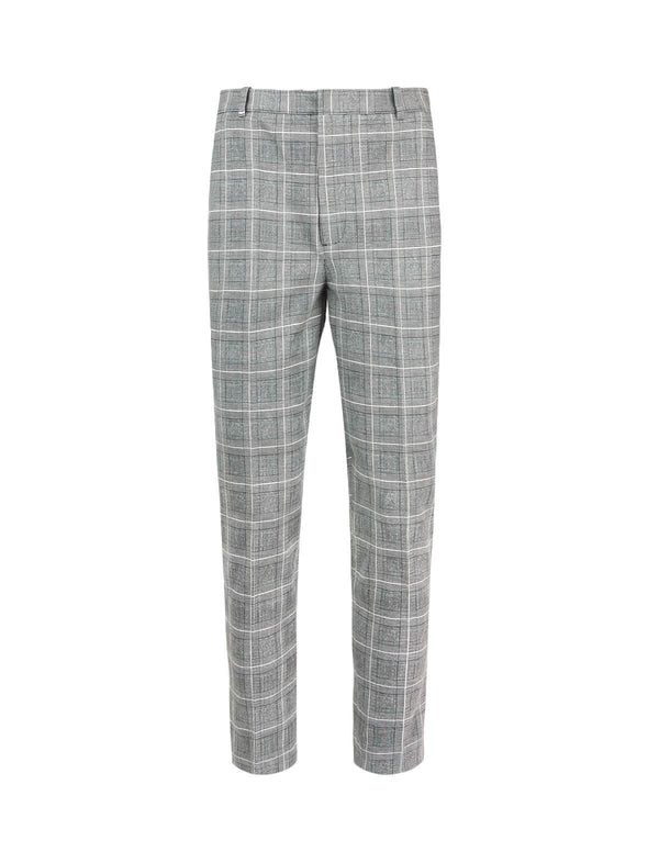 Cotton Piqué Striped Pants in Wales Check