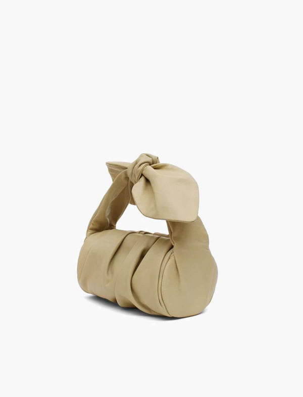 Nane Leather Knot Bag In Beige