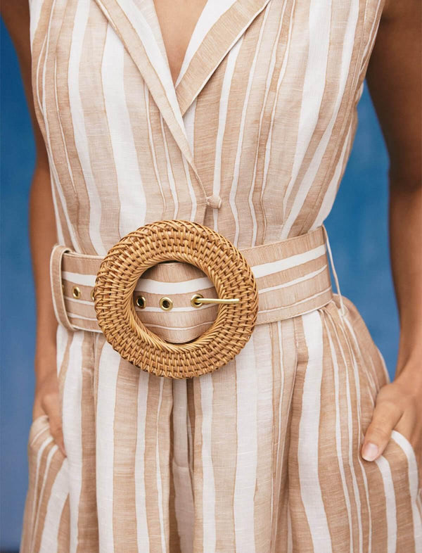 Enzo Wide Fabric Belt in Natural Stripes - CLOSET Singapore