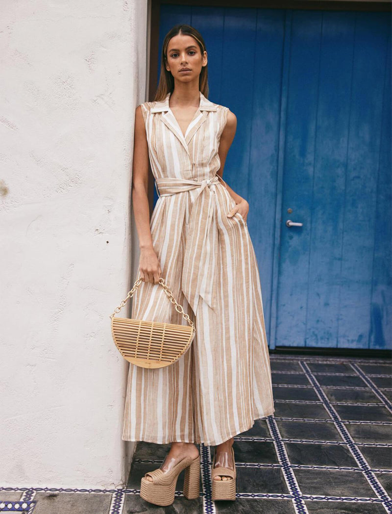 Sybil Silk-Linen Jumpsuit in Natural Stripes