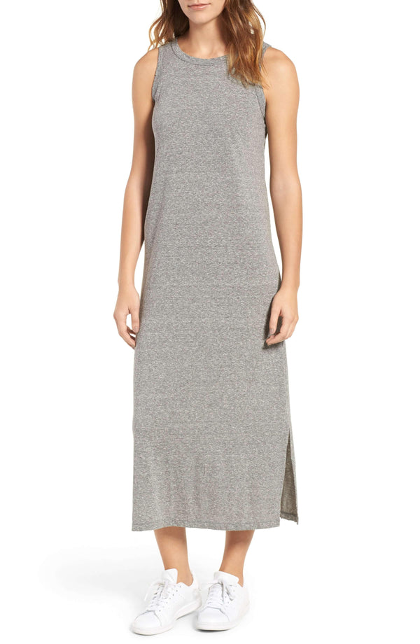 Cotton-Blend Jersey Midi Dress in Heather Grey