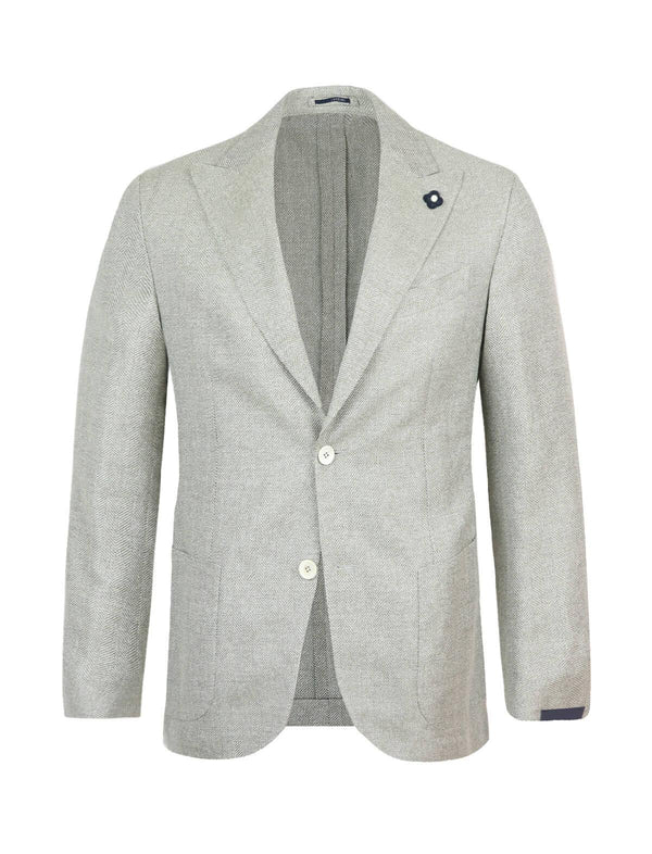 Single-breasted wool blended blazer in green and white - CLOSET Singapore