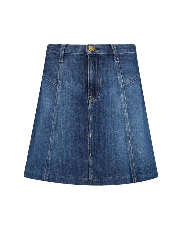 Highrise Denim Mini Skirt in Ravine