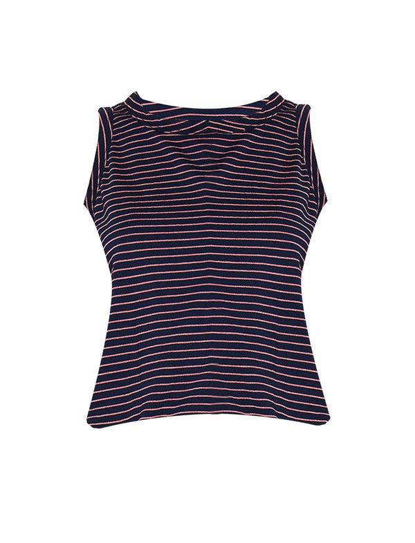 Cotton-Blend Jersey Tank Top in Navy Sonic Stripes