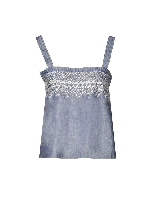 Cotton Smocked Tank Top in Chambray