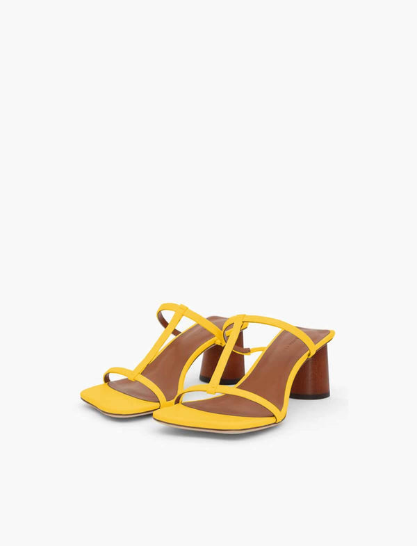 Erin Leather Sandals In Yellow - CLOSET Singapore