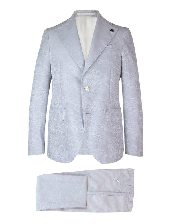 2-Piece Wool Blend Suit in Gray Jacquard Print
