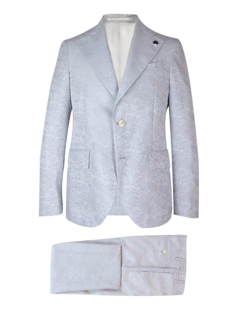 2-Piece Wool Blend Suit in Gray Jacquard Print - CLOSET Singapore