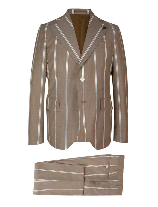2-Piece Wool Suit in Brown Ticking Stripes