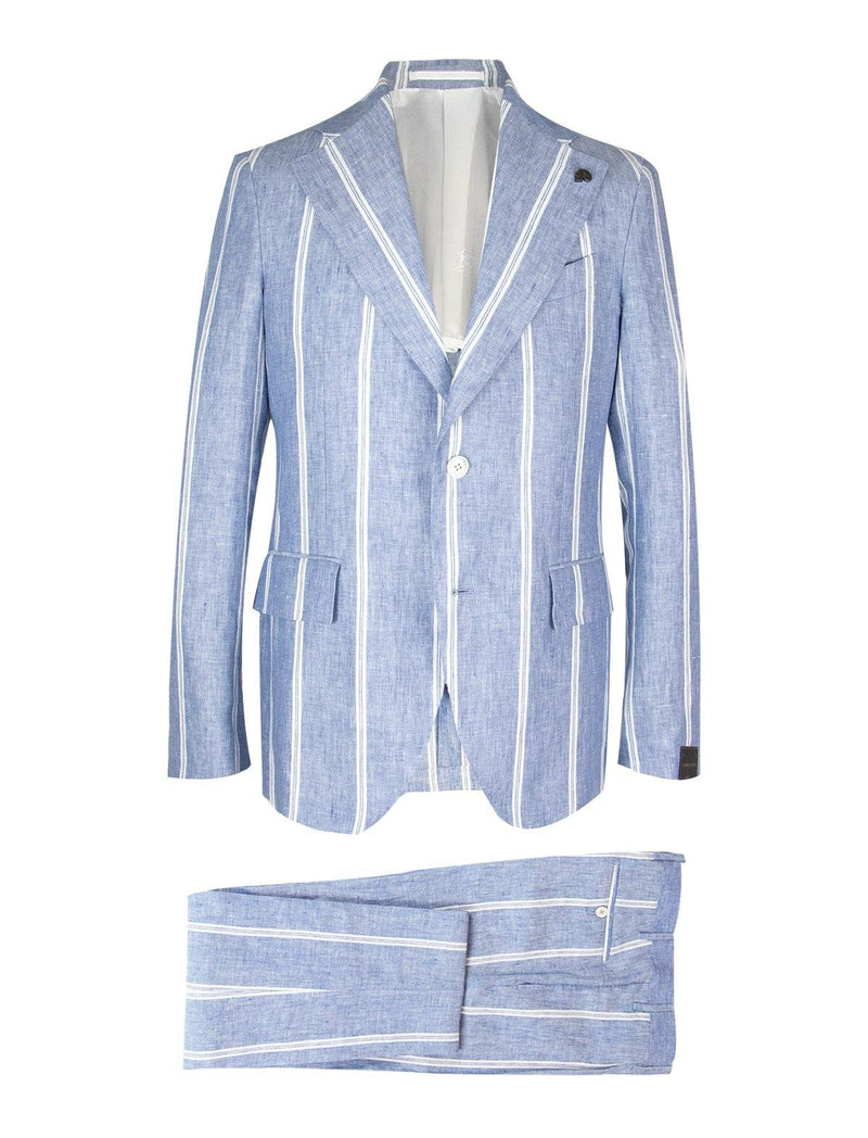 2-Piece Linen Suit in Light Blue Ticking Stripes