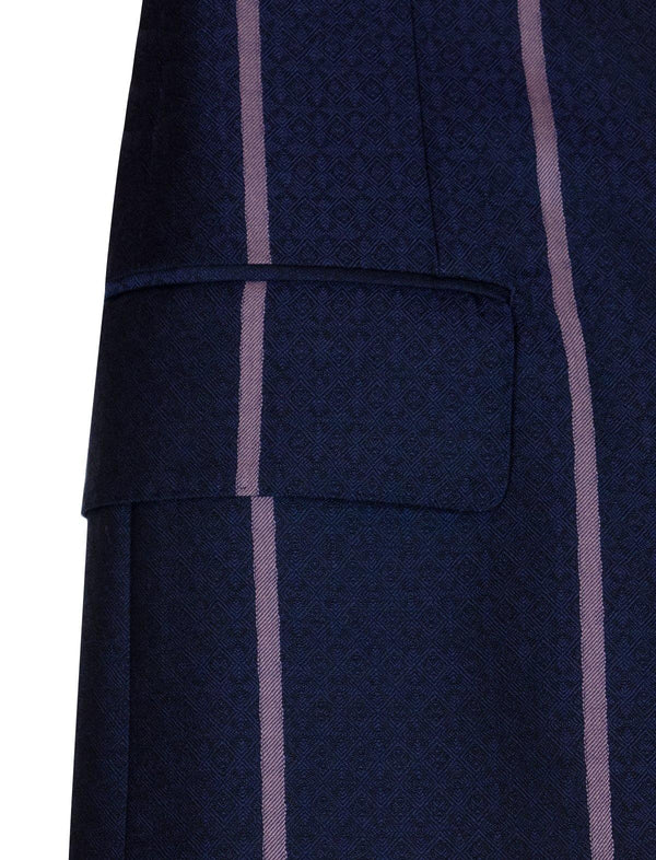 2-Piece Wool Suits in Navy Diamond Twill and Purple Stripes