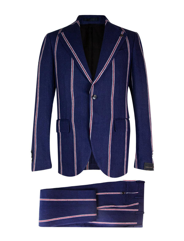 2-Piece Linen Suit in Navy Contrasting Stripes
