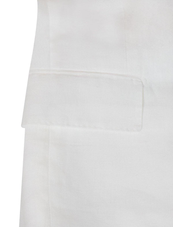 2-Piece Linen Suit in Pure White