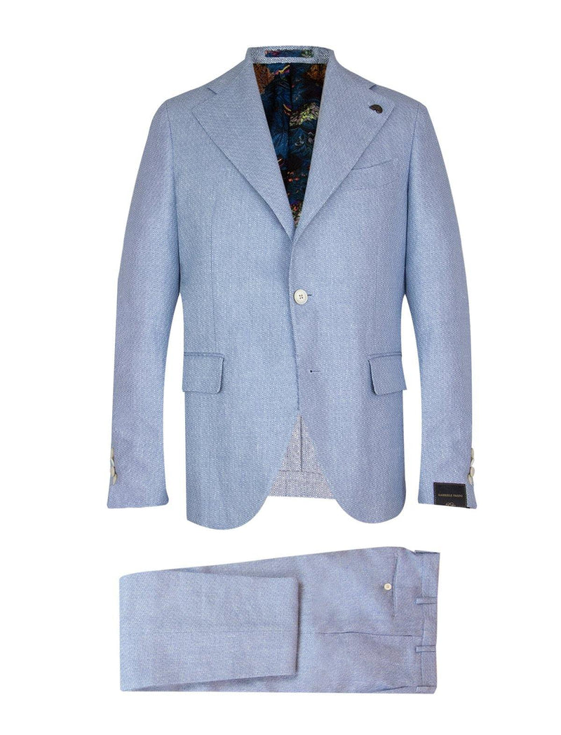 2-Piece Linen Blend Suit in Blue Diamond Twill