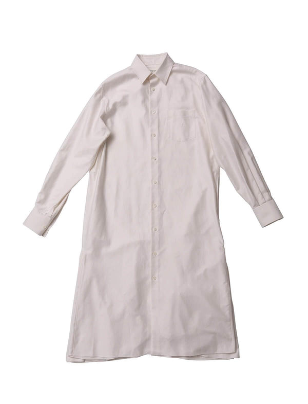 Cotton Fishtail Shirt Dress in White