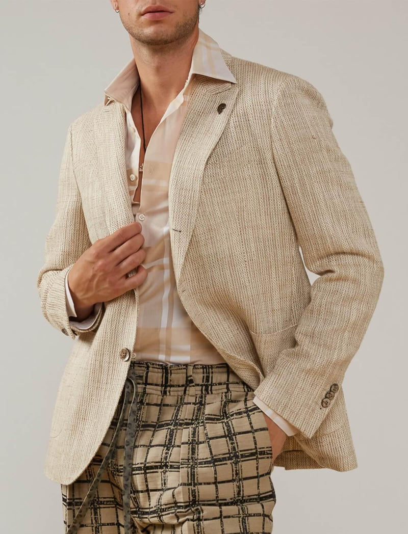 Single-breasted cotton-blend blazer in natural weave - CLOSET Singapore