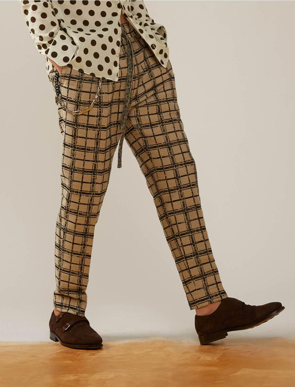 Easy Cotton-blend Trousers in Brown/ Black Checks - CLOSET Singapore
