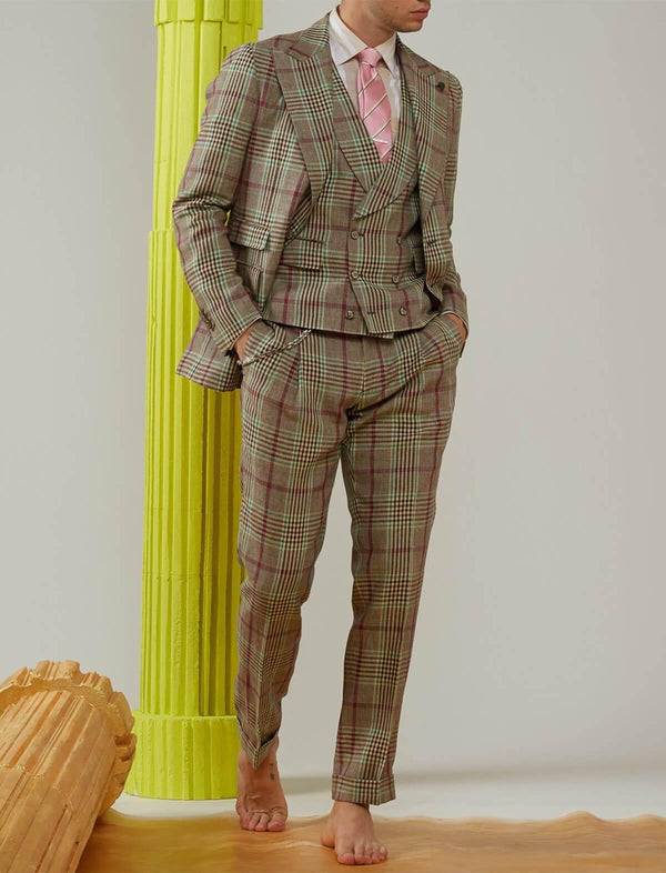 3-Piece Linen Suit in Brown Prince of Wales - CLOSET Singapore