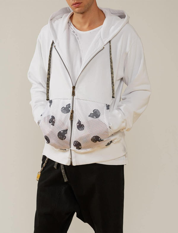 Cotton Front Zip Pocket Hoodie in White - CLOSET Singapore
