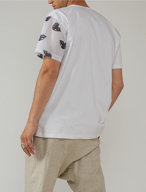 Cotton-blend Graphic T-shirt in White - CLOSET Singapore