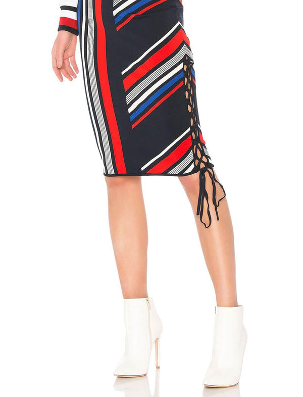 THxGH Rib Knit Skirt in Intarsia Stripe Print