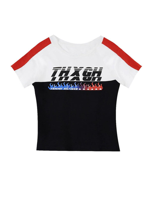THXGH Crop Tshirt in White and Navy
