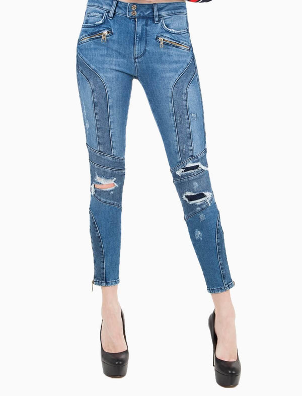 THxGH Slim-Fit Denim Ripped Jeans in Blue