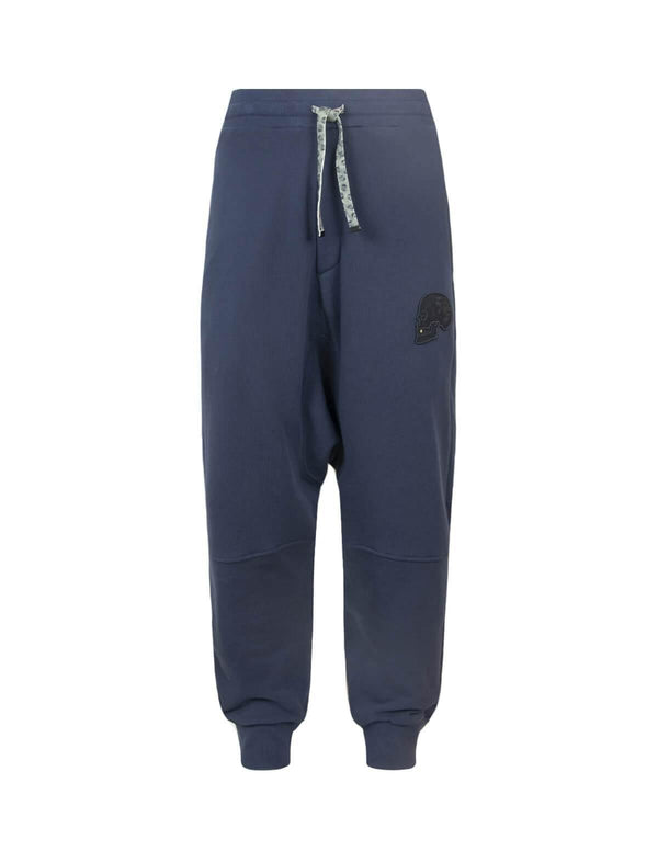 Drop Crotch Cotton Sweatpants In Blue