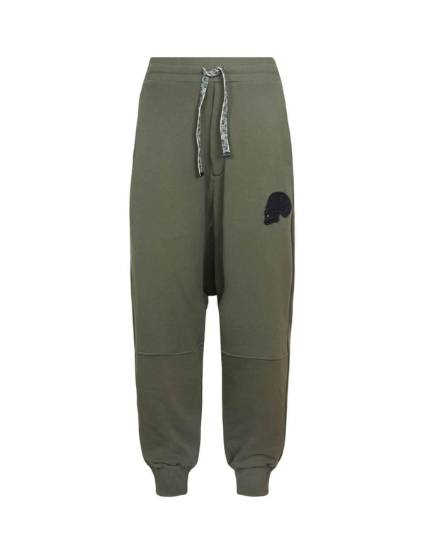 Drop Crotch Cotton Sweatpants In Khaki Green