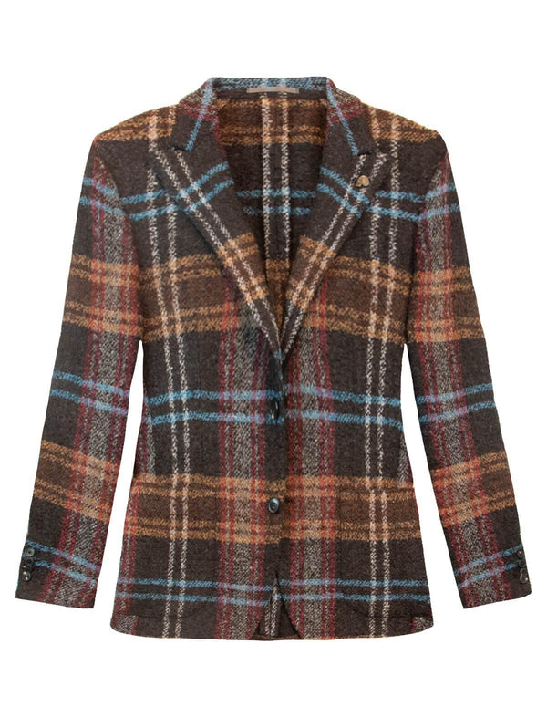 Single-Breasted Plaid Wool-Blend Blazer in Brown