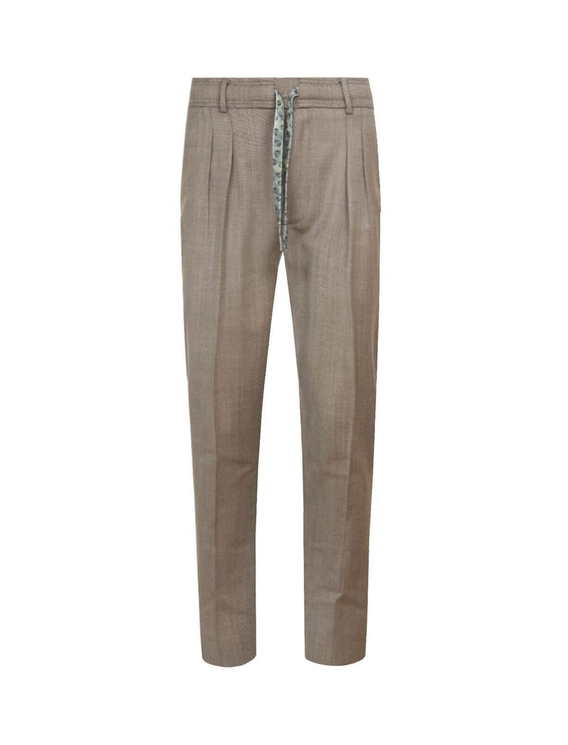 Straight-Leg Wool Trousers in Brown