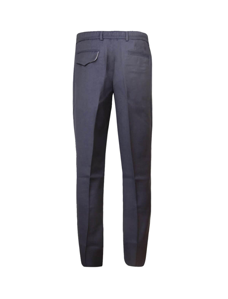Straight-Leg Wool Trousers in Navy
