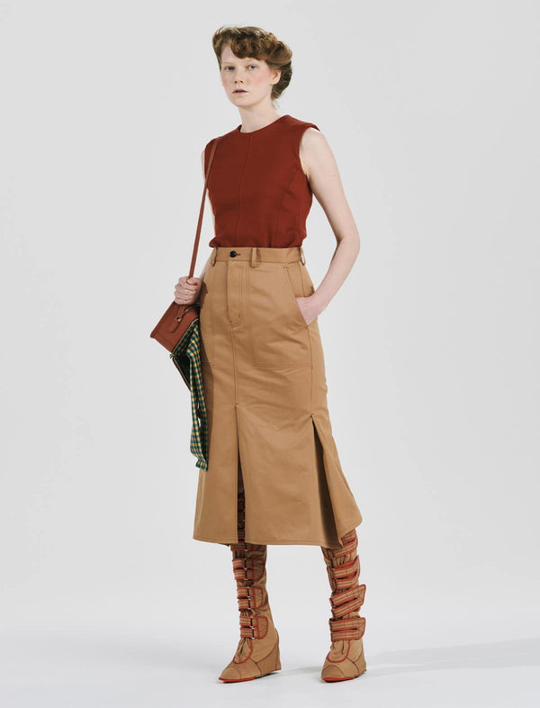 Gabardine Cotton Fishtail Midi Skirt in Camel