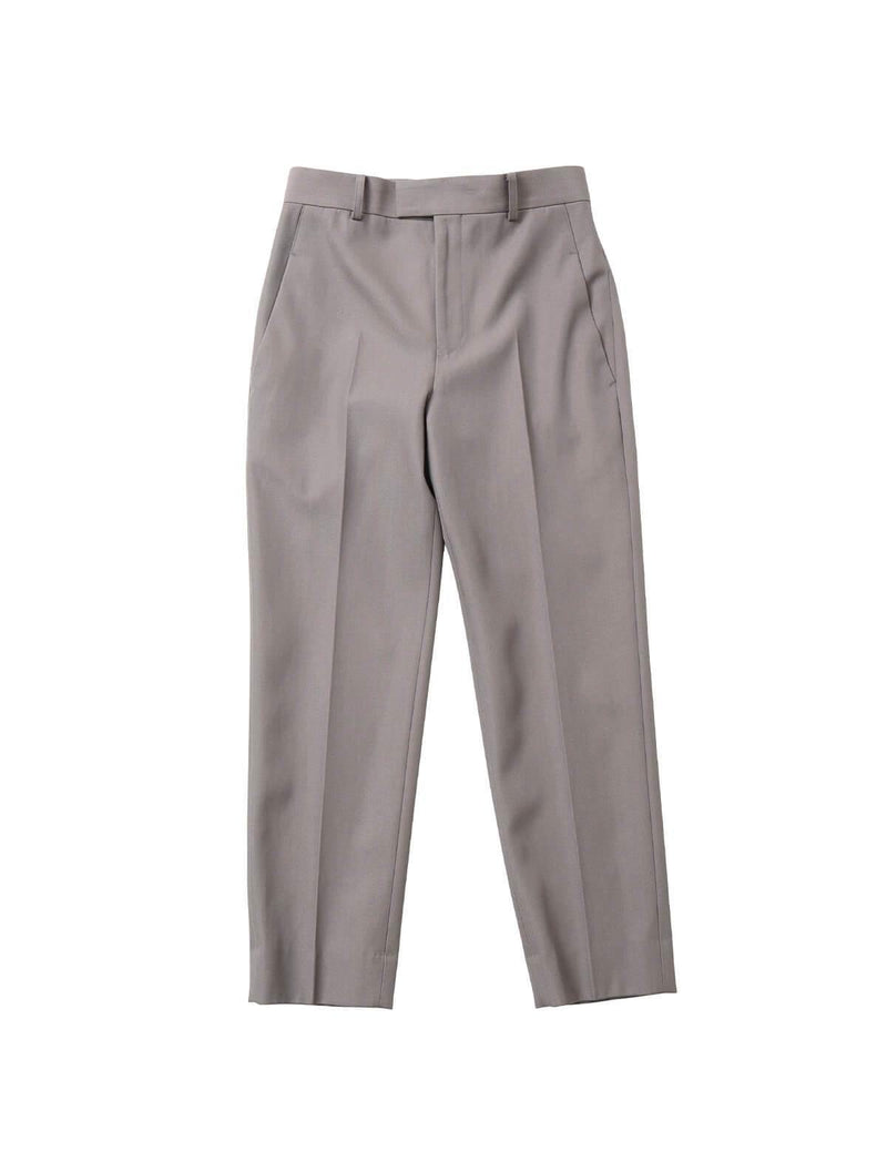 Wool Gaberdine Cigarette Pants in Gray