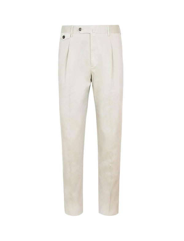 Gentleman Fit Cotton Pants In Beige - CLOSET Singapore