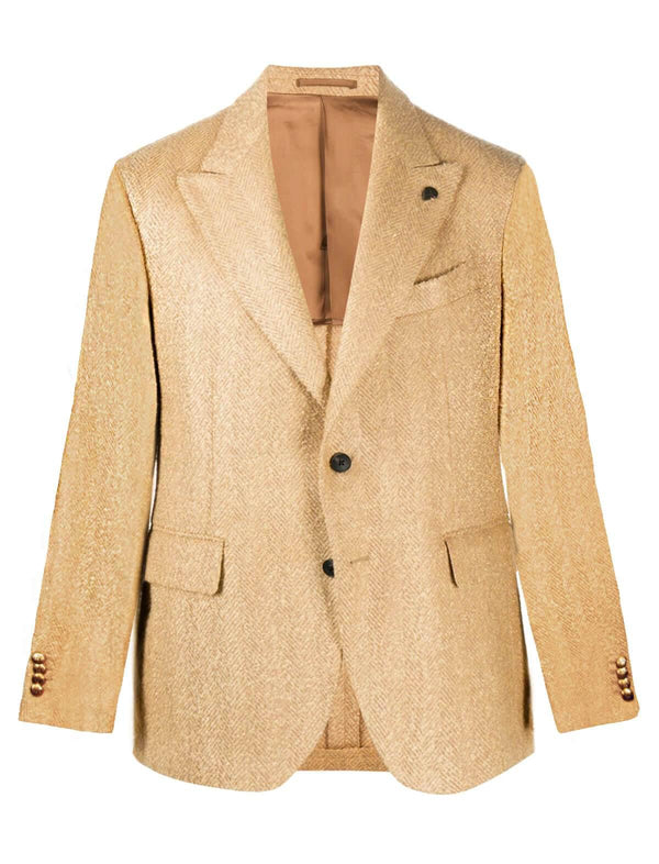 Single-Breasted Wool Blended Blazer in Beige