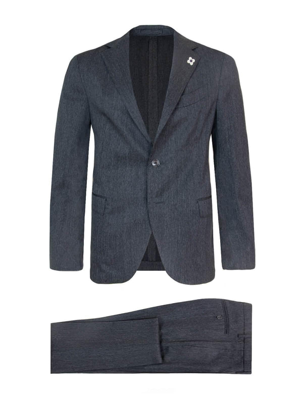 2-Piece Wool Twill Easy Wear Suit in Grey - CLOSET Singapore