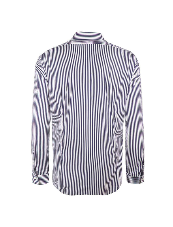Classic Cotton White Shirt in Navy Stripes - CLOSET Singapore